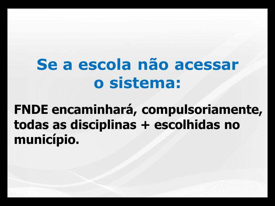 FNDE encaminhará, compulsoriamente, todas as disciplinas + escolhidas no município. Se a escola não acessar o sistema: