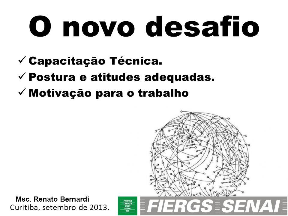 O novo desafio Capacitação Técnica. Postura e atitudes adequadas. Motivação para o trabalho Curitiba, setembro de 2013. Msc. Renato Bernardi