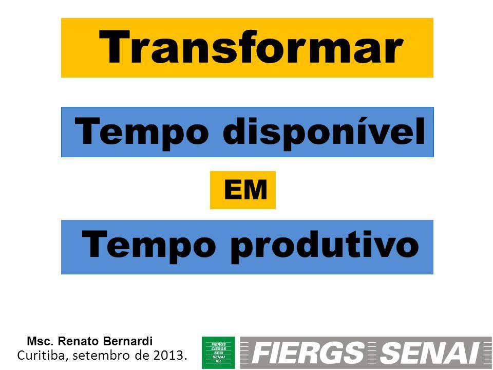Tempo produtivo Transformar Tempo disponível EM Curitiba, setembro de 2013. Msc. Renato Bernardi