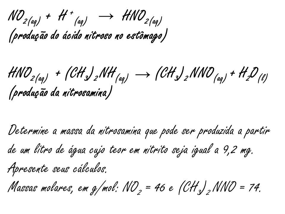 NO 2  (aq) + H + (aq) HNO 2(aq) (produção do ácido nitroso no estômago) HNO 2(aq) + (CH 3 ) 2 NH (aq) (CH 3 ) 2 NNO (aq) + H 2 O (l) (produção da nit