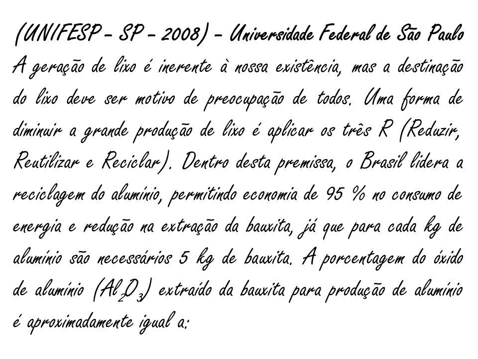 (UNIFESP – SP – 2008) – Universidade Federal de São Paulo A geração de lixo é inerente à nossa existência, mas a destinação do lixo deve ser motivo de