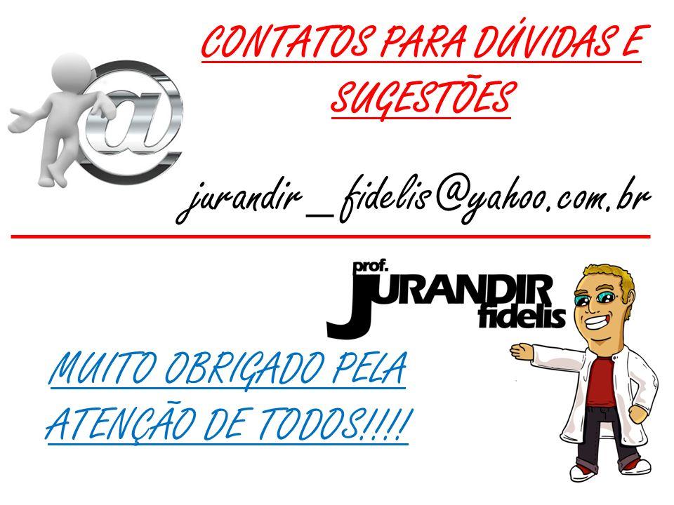 CONTATOS PARA DÚVIDAS E SUGESTÕES jurandir_ fidelis@yahoo.com.br MUITO OBRIGADO PELA ATENÇÃO DE TODOS!!!!