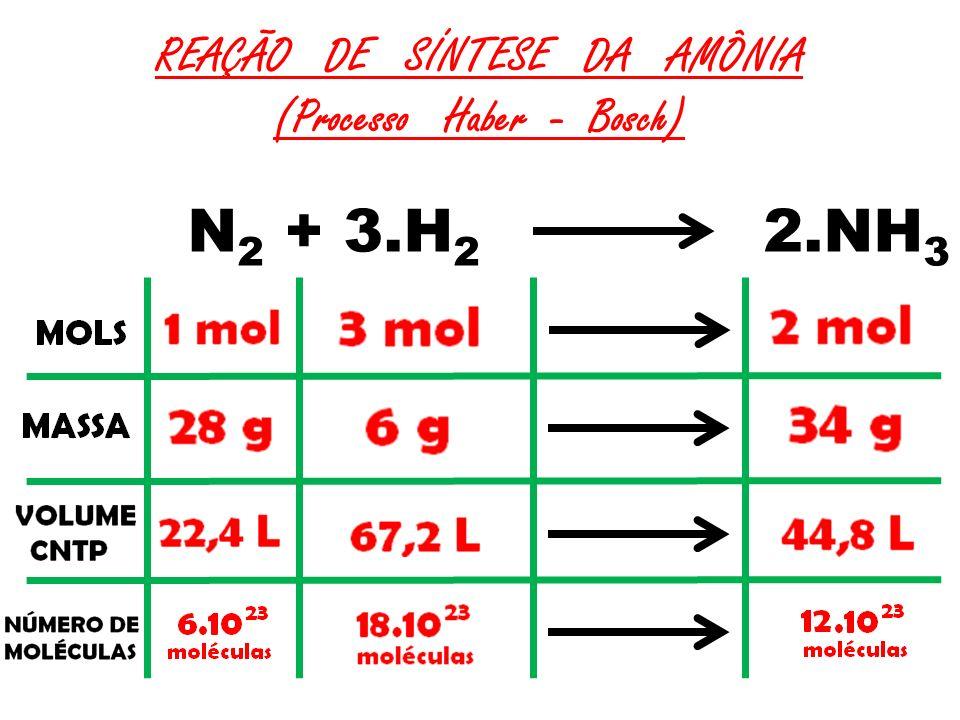 REAÇÃO DE SÍNTESE DA AMÔNIA (Processo Haber - Bosch) N 2 + 3.H 2 2.NH 3