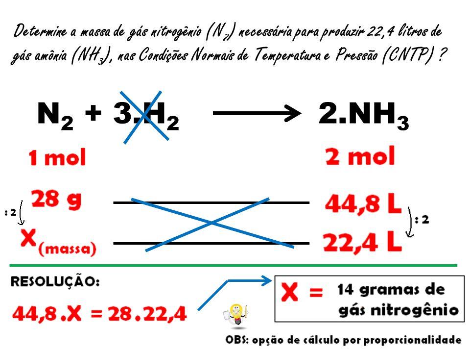 Determine a massa de gás nitrogênio (N 2 ) necessária para produzir 22,4 litros de gás amônia (NH 3 ), nas Condições Normais de Temperatura e Pressão