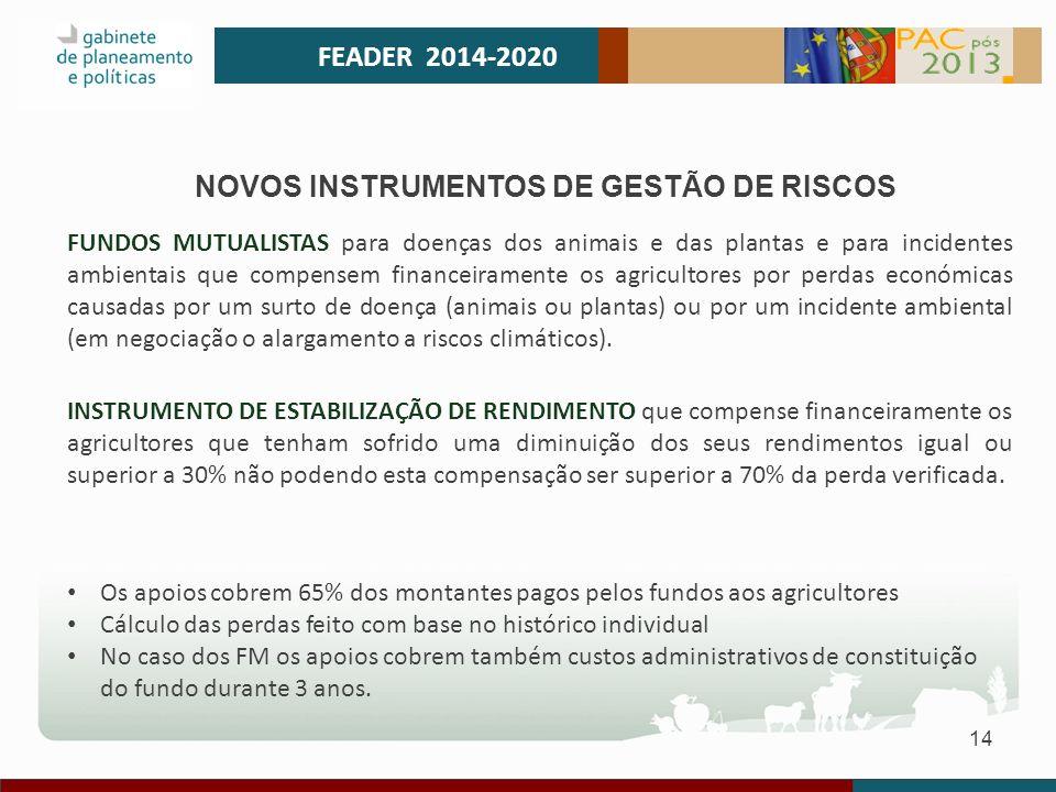 14 FEADER 2014-2020 NOVOS INSTRUMENTOS DE GESTÃO DE RISCOS FUNDOS MUTUALISTAS para doenças dos animais e das plantas e para incidentes ambientais que