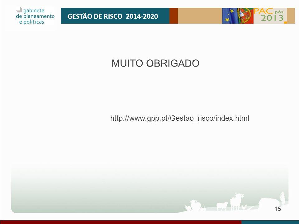 15 GESTÃO DE RISCO 2014-2020 MUITO OBRIGADO http://www.gpp.pt/Gestao_risco/index.html
