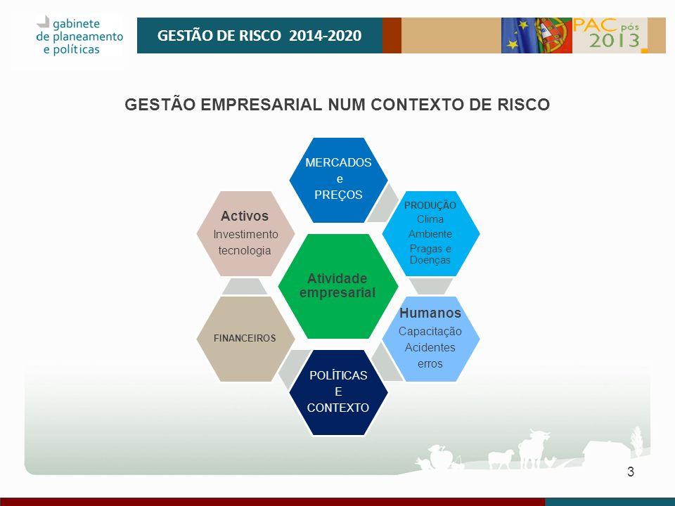 3 GESTÃO DE RISCO 2014-2020 Atividade empresarial MERCADOS e PREÇOS PRODUÇÃO Clima Ambiente Pragas e Doenças Humanos Capacitação Acidentes erros POLÍT