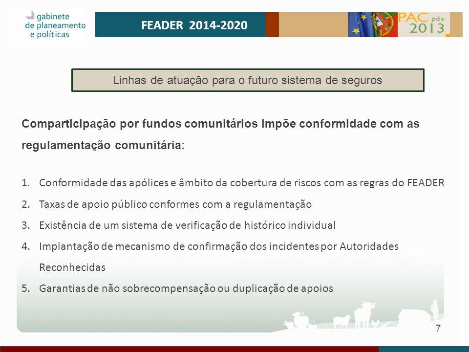 8 GESTÃO DE RISCO 2014-2020 Linhas de atuação para o futuro sistema de seguros Sendo um instrumento de Política Agrícola deve ser garantida a sua pertinência, a sua eficácia e a sua eficiência: 1.Assegurando a prossecução de objetivos de Desenvolvimento Rural e, em particular, de suporte à competitividade da agricultura.
