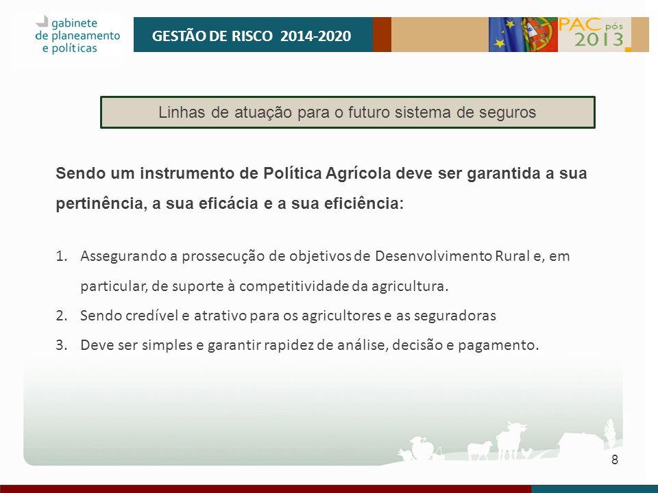 8 GESTÃO DE RISCO 2014-2020 Linhas de atuação para o futuro sistema de seguros Sendo um instrumento de Política Agrícola deve ser garantida a sua pert