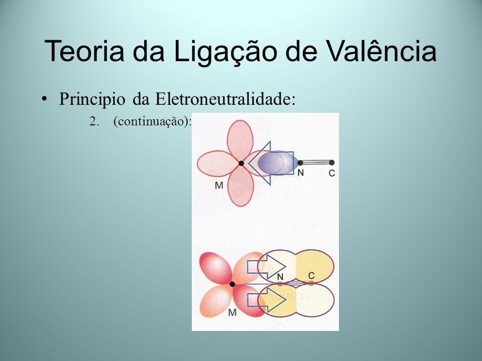 Teoria da Ligação de Valência Principio da Eletroneutralidade: 2.(continuação):