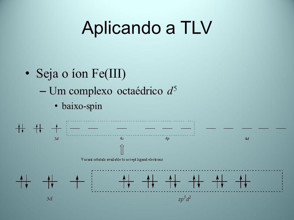 Aplicando a TLV Seja o íon Fe(III) – Um complexo octaédrico d 5 alto-spin