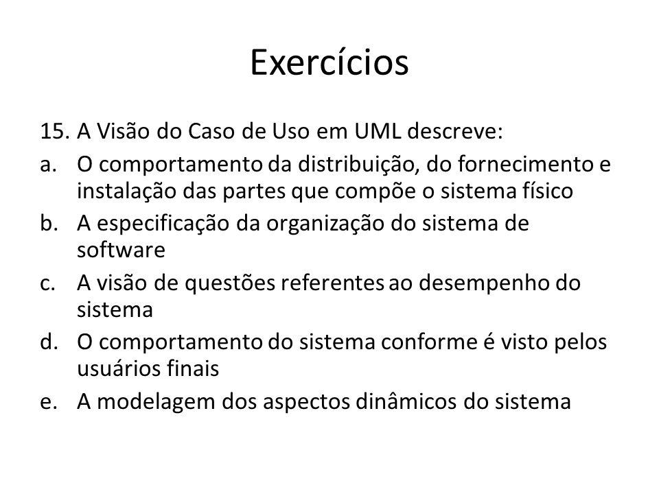Exercícios 15.A Visão do Caso de Uso em UML descreve: a.O comportamento da distribuição, do fornecimento e instalação das partes que compõe o sistema