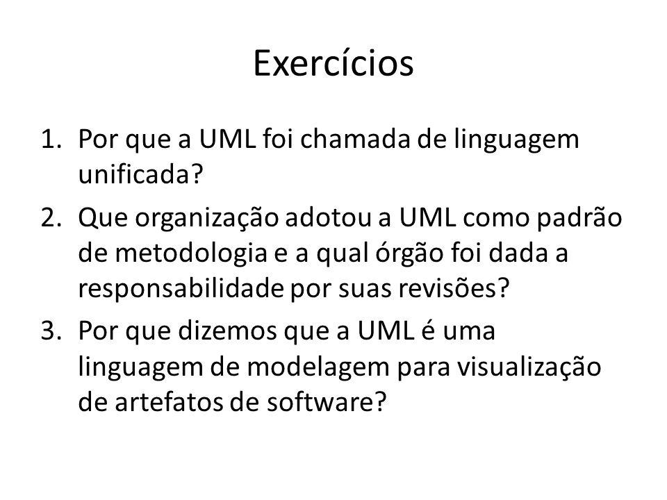 Exercícios 1.Por que a UML foi chamada de linguagem unificada? 2.Que organização adotou a UML como padrão de metodologia e a qual órgão foi dada a res
