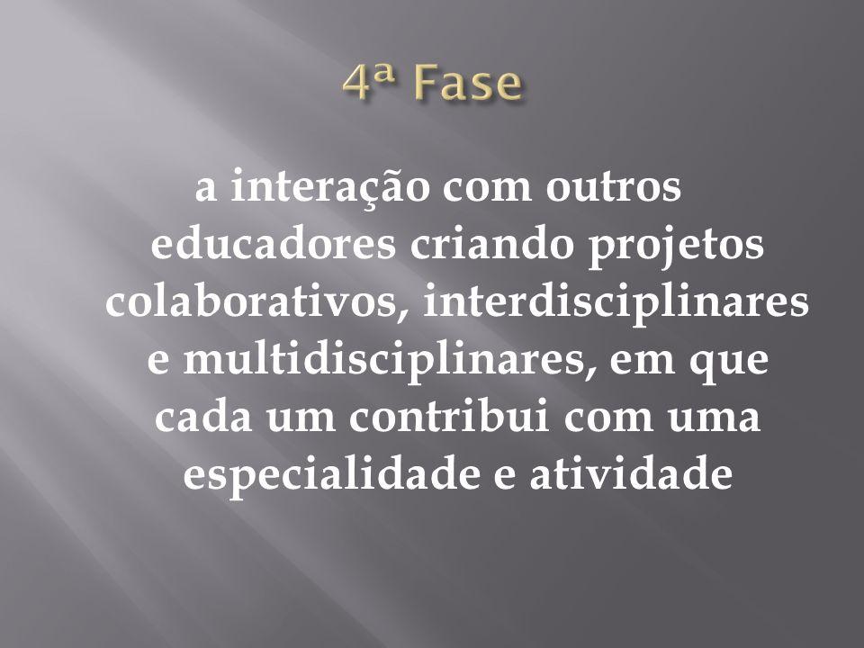 a interação com outros educadores criando projetos colaborativos, interdisciplinares e multidisciplinares, em que cada um contribui com uma especialidade e atividade