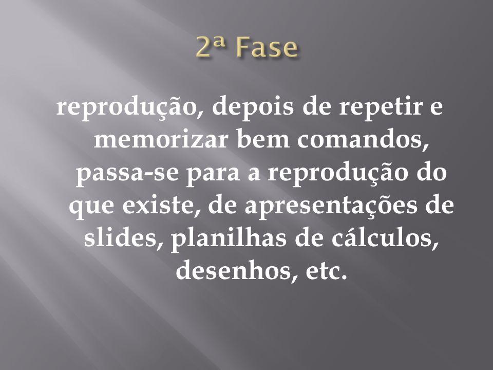 reprodução, depois de repetir e memorizar bem comandos, passa-se para a reprodução do que existe, de apresentações de slides, planilhas de cálculos, desenhos, etc.