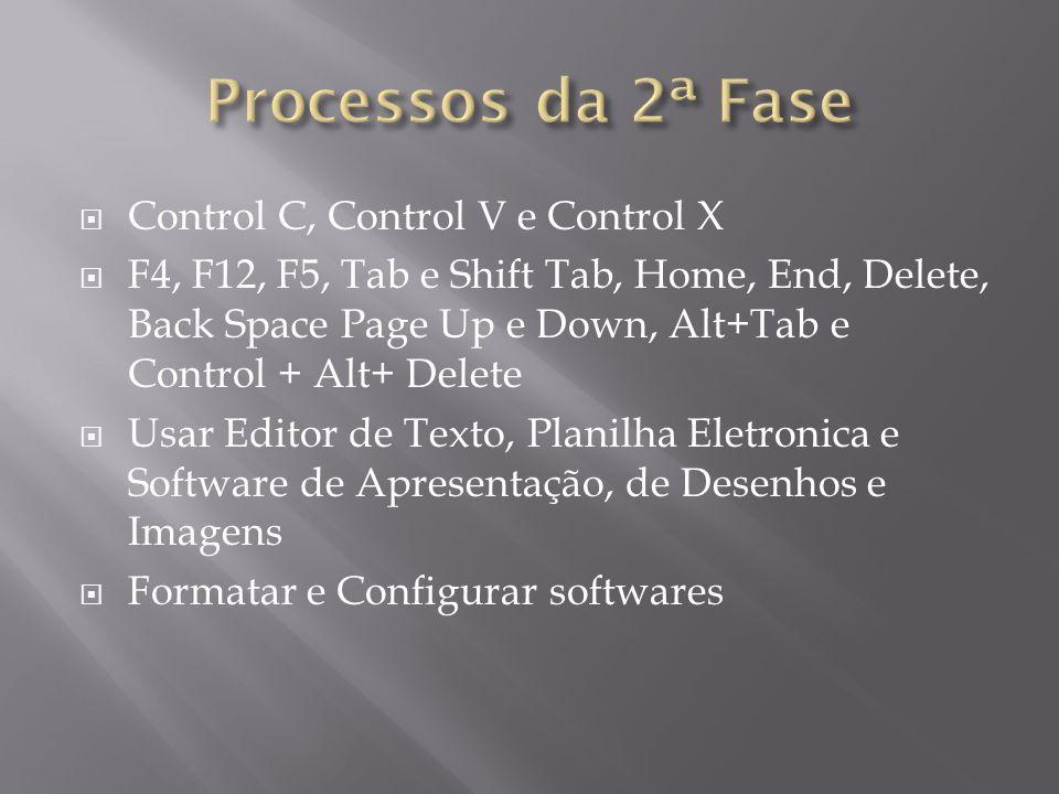 Control C, Control V e Control X F4, F12, F5, Tab e Shift Tab, Home, End, Delete, Back Space Page Up e Down, Alt+Tab e Control + Alt+ Delete Usar Edit
