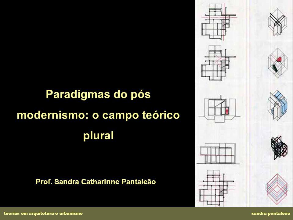 Paradigmas do pós modernismo: o campo teórico plural Prof. Sandra Catharinne Pantaleão teorias em arquitetura e urbanismo sandra pantaleão