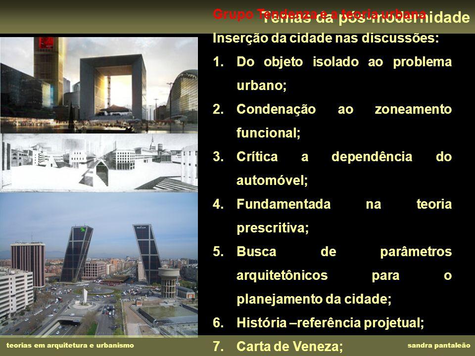 teorias em arquitetura e urbanismo sandra pantaleão Temas da pós-modernidade Grupo Tendenza e a teoria urbana Inserção da cidade nas discussões: 1.Do