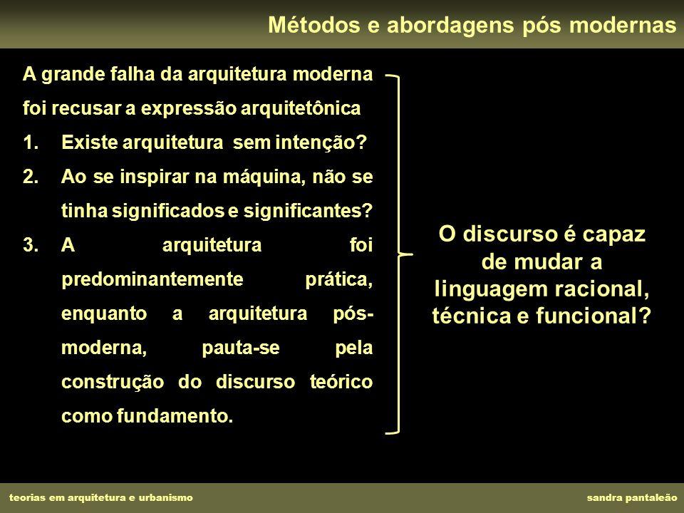 A grande falha da arquitetura moderna foi recusar a expressão arquitetônica 1.Existe arquitetura sem intenção? 2.Ao se inspirar na máquina, não se tin