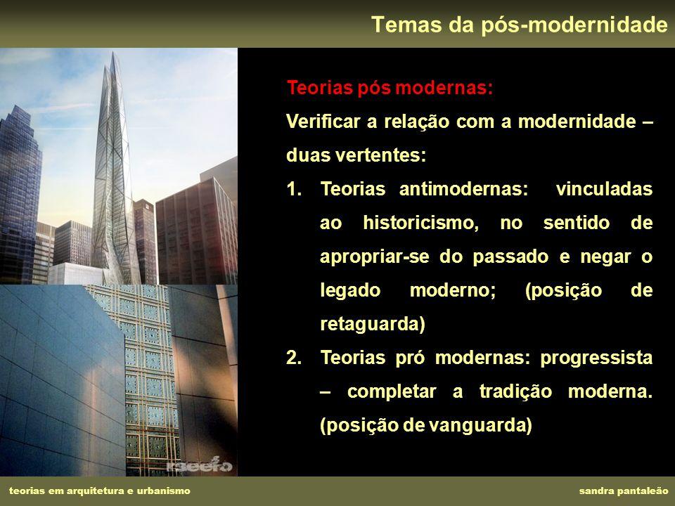 teorias em arquitetura e urbanismo sandra pantaleão Temas da pós-modernidade Teorias pós modernas: Verificar a relação com a modernidade – duas verten