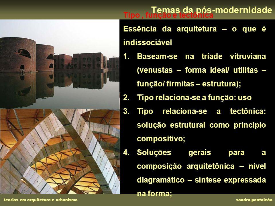 teorias em arquitetura e urbanismo sandra pantaleão Temas da pós-modernidade Tipo, função e tectônica Essência da arquitetura – o que é indissociável
