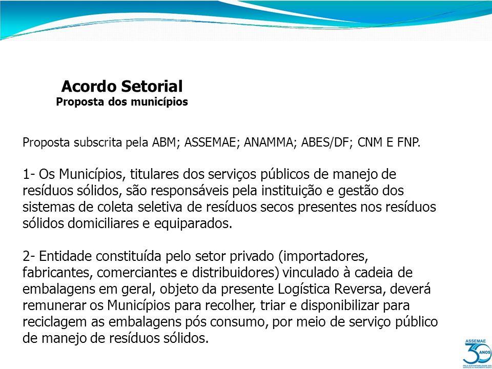 Acordo Setorial Proposta dos municípios Proposta subscrita pela ABM; ASSEMAE; ANAMMA; ABES/DF; CNM E FNP. 1- Os Municípios, titulares dos serviços púb