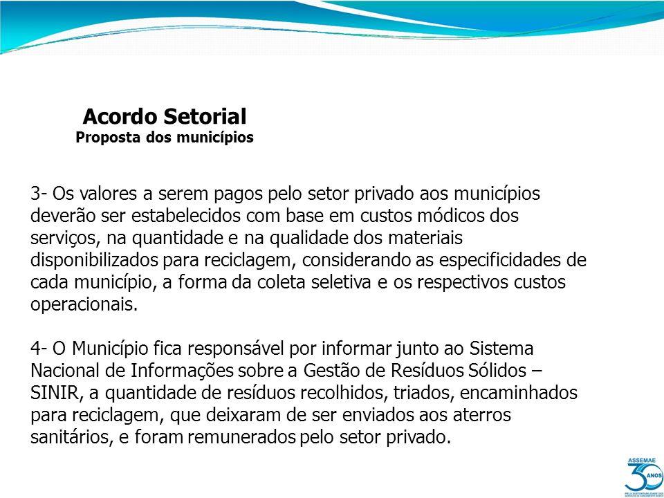 Acordo Setorial Proposta dos municípios 3- Os valores a serem pagos pelo setor privado aos municípios deverão ser estabelecidos com base em custos mód