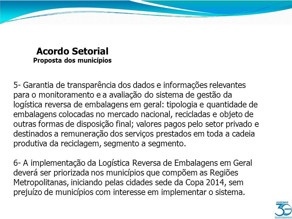 Acordo Setorial Proposta dos municípios 5- Garantia de transparência dos dados e informações relevantes para o monitoramento e a avaliação do sistema