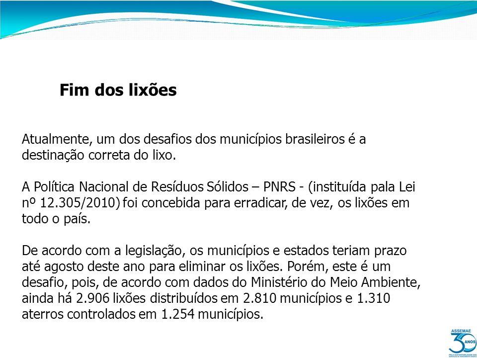 Fim dos lixões Atualmente, um dos desafios dos municípios brasileiros é a destinação correta do lixo. A Política Nacional de Resíduos Sólidos – PNRS -