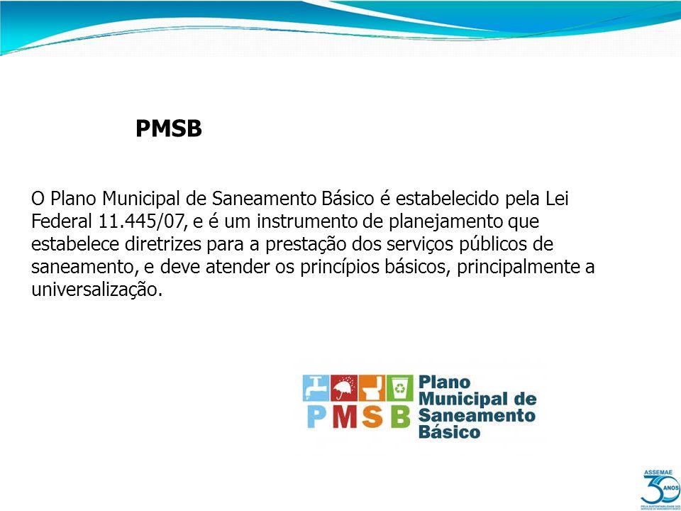 PMSB O Plano Municipal de Saneamento Básico é estabelecido pela Lei Federal 11.445/07, e é um instrumento de planejamento que estabelece diretrizes pa