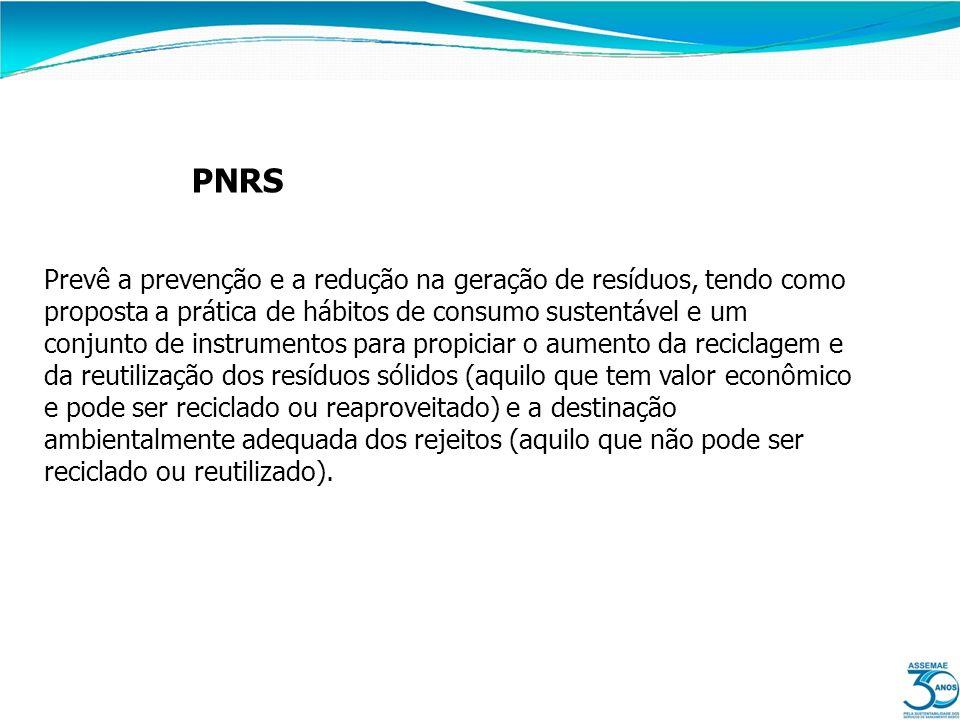 PNRS Prevê a prevenção e a redução na geração de resíduos, tendo como proposta a prática de hábitos de consumo sustentável e um conjunto de instrument