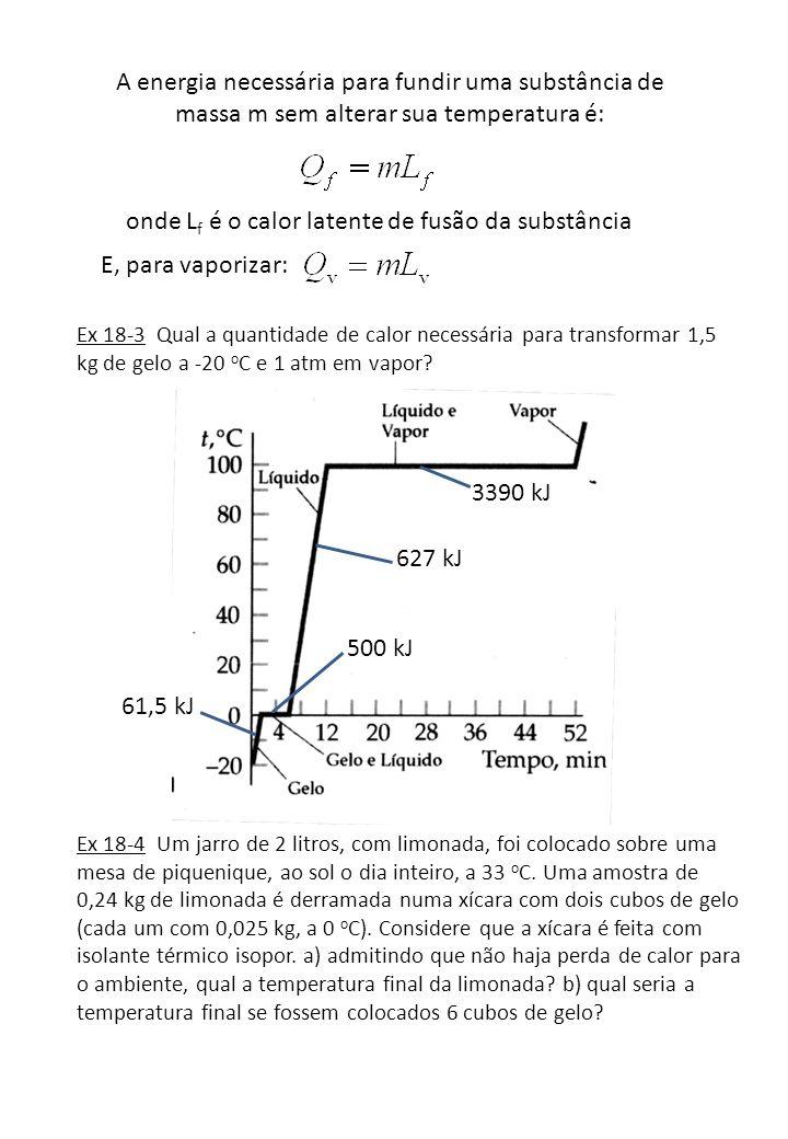 A energia necessária para fundir uma substância de massa m sem alterar sua temperatura é: onde L f é o calor latente de fusão da substância E, para va