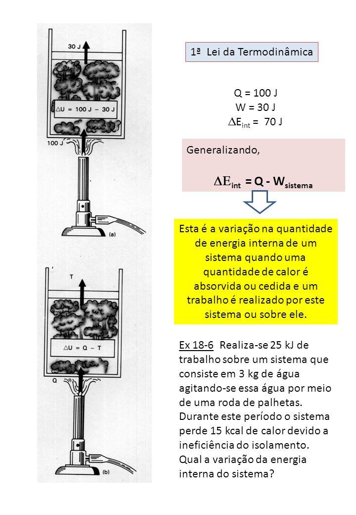 Q = 100 J W = 30 J E int = 70 J Generalizando, int = Q - W sistema Esta é a variação na quantidade de energia interna de um sistema quando uma quantid