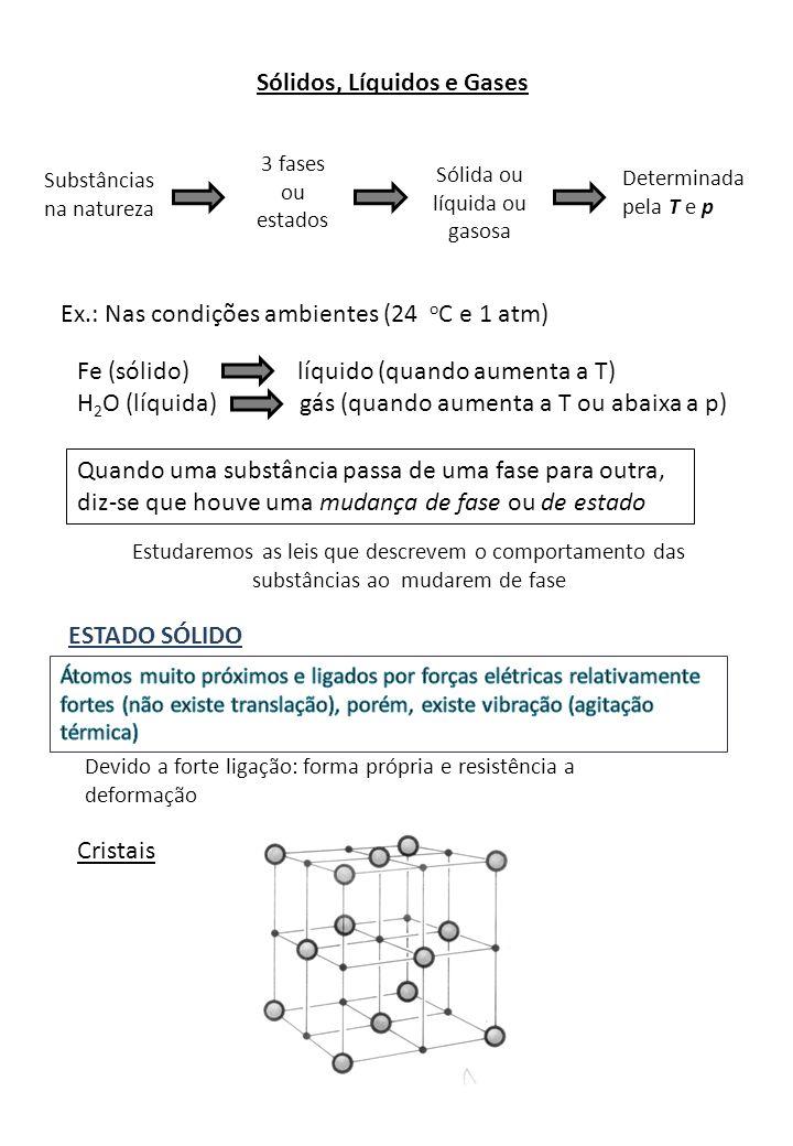 Sólidos, Líquidos e Gases Substâncias na natureza 3 fases ou estados Sólida ou líquida ou gasosa Determinada pela T e p Ex.: Nas condições ambientes (