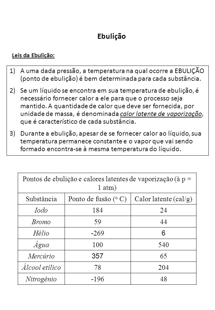 Ebulição Leis da Ebulição: 1)A uma dada pressão, a temperatura na qual ocorre a EBULIÇÃO (ponto de ebulição) é bem determinada para cada substância. 2