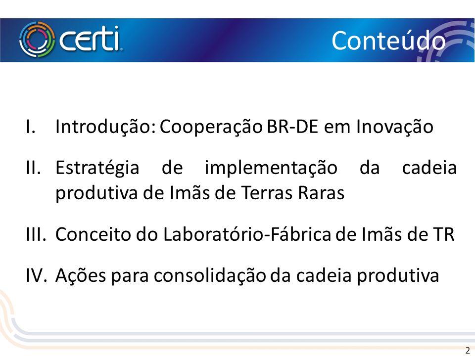 2 I.Introdução: Cooperação BR-DE em Inovação II.Estratégia de implementação da cadeia produtiva de Imãs de Terras Raras III.Conceito do Laboratório-Fá