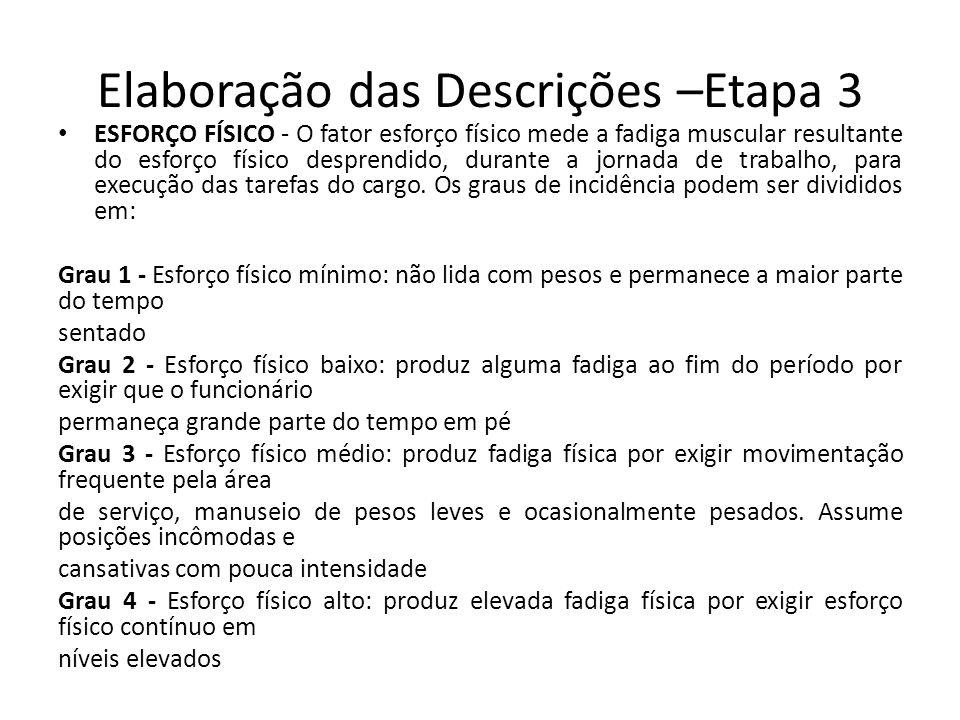 Elaboração das Descrições –Etapa 3 ESFORÇO FÍSICO - O fator esforço físico mede a fadiga muscular resultante do esforço físico desprendido, durante a jornada de trabalho, para execução das tarefas do cargo.
