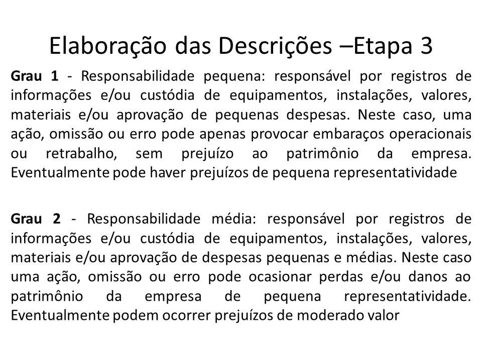 Elaboração das Descrições –Etapa 3 Grau 1 - Responsabilidade pequena: responsável por registros de informações e/ou custódia de equipamentos, instalações, valores, materiais e/ou aprovação de pequenas despesas.