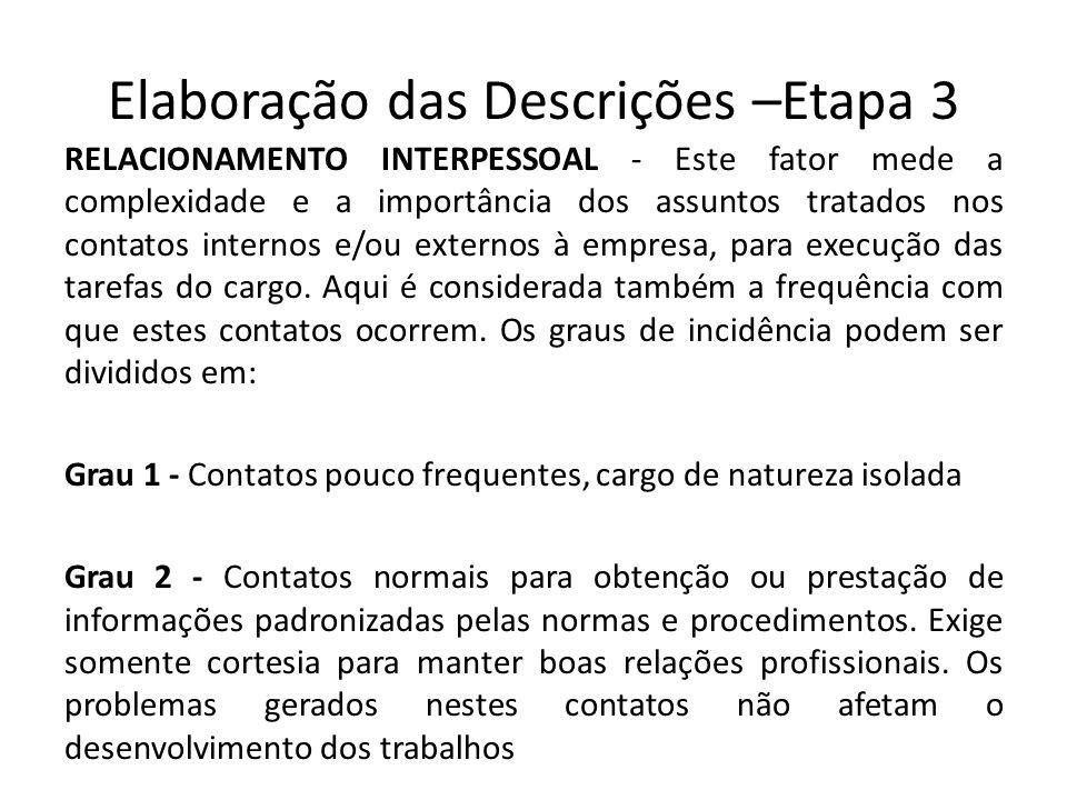 Elaboração das Descrições –Etapa 3 RELACIONAMENTO INTERPESSOAL - Este fator mede a complexidade e a importância dos assuntos tratados nos contatos int