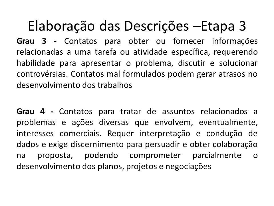 Elaboração das Descrições –Etapa 3 Grau 3 - Contatos para obter ou fornecer informações relacionadas a uma tarefa ou atividade específica, requerendo habilidade para apresentar o problema, discutir e solucionar controvérsias.