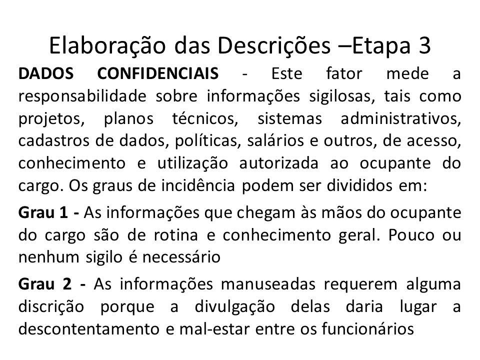 Elaboração das Descrições –Etapa 3 DADOS CONFIDENCIAIS - Este fator mede a responsabilidade sobre informações sigilosas, tais como projetos, planos té