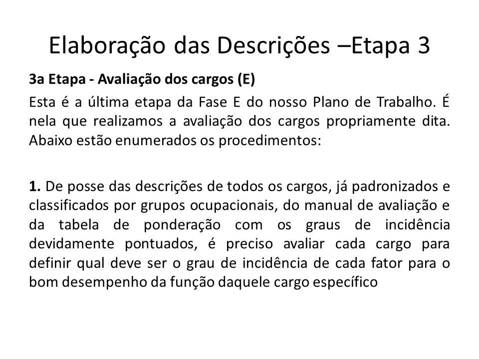 Elaboração das Descrições –Etapa 3 3a Etapa - Avaliação dos cargos (E) Esta é a última etapa da Fase E do nosso Plano de Trabalho. É nela que realizam