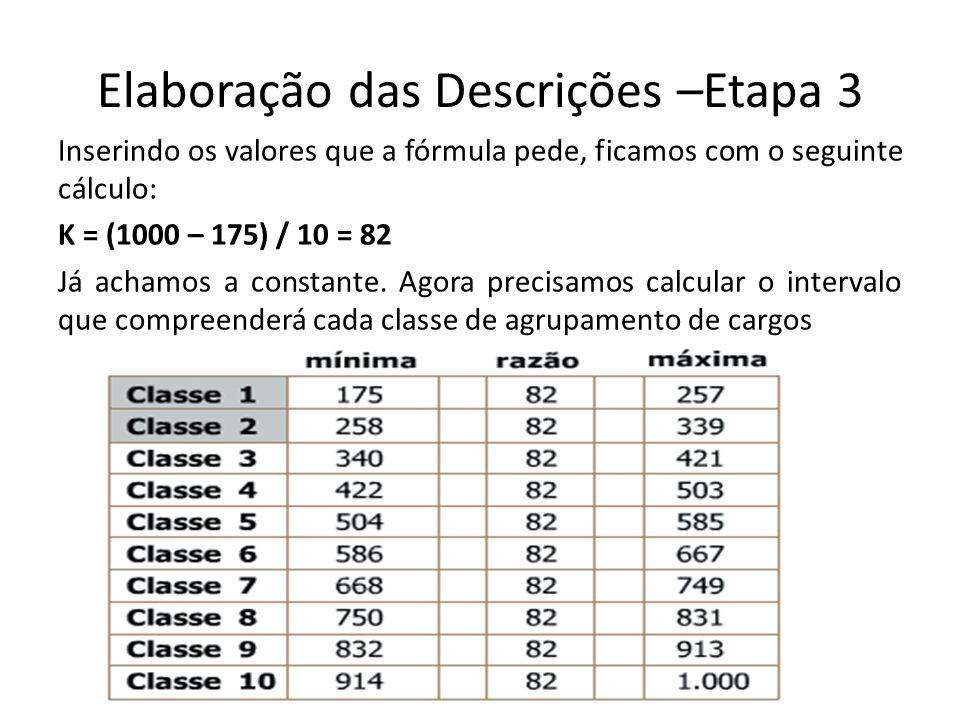 Elaboração das Descrições –Etapa 3 Inserindo os valores que a fórmula pede, ficamos com o seguinte cálculo: K = (1000 – 175) / 10 = 82 Já achamos a co