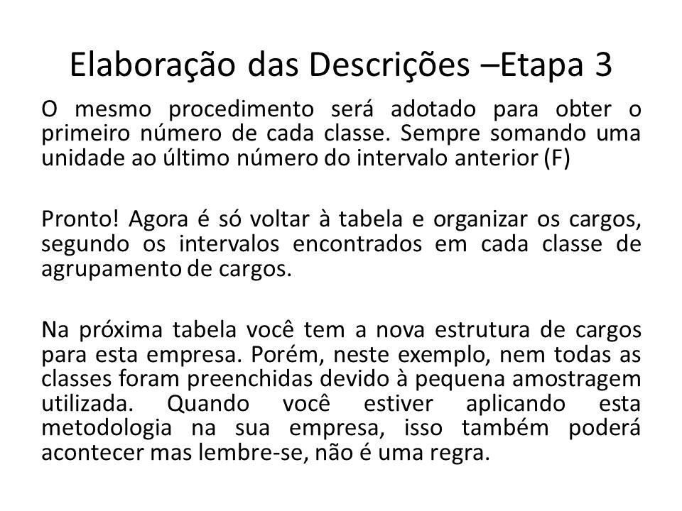 Elaboração das Descrições –Etapa 3 O mesmo procedimento será adotado para obter o primeiro número de cada classe.
