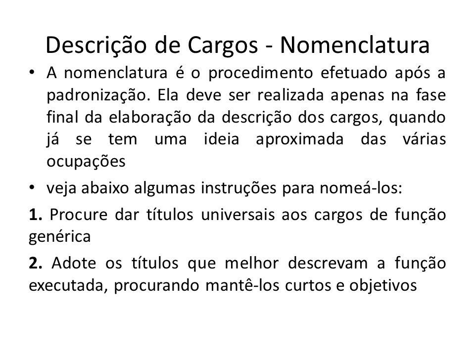 Descrição de Cargos - Nomenclatura A nomenclatura é o procedimento efetuado após a padronização. Ela deve ser realizada apenas na fase final da elabor