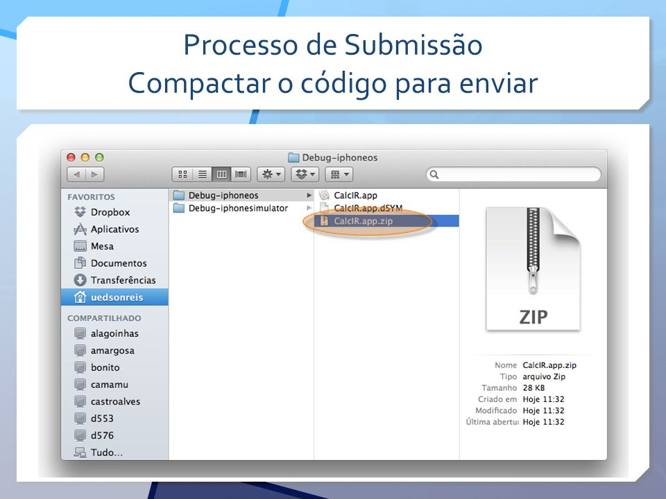 Processo de Submissão Compactar o código para enviar