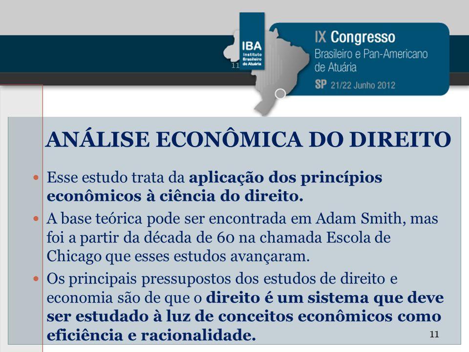 ANÁLISE ECONÔMICA DO DIREITO Esse estudo trata da aplicação dos princípios econômicos à ciência do direito. A base teórica pode ser encontrada em Adam