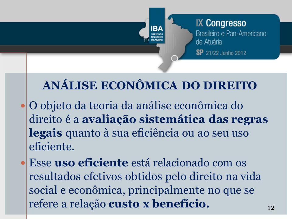 ANÁLISE ECONÔMICA DO DIREITO O objeto da teoria da análise econômica do direito é a avaliação sistemática das regras legais quanto à sua eficiência ou