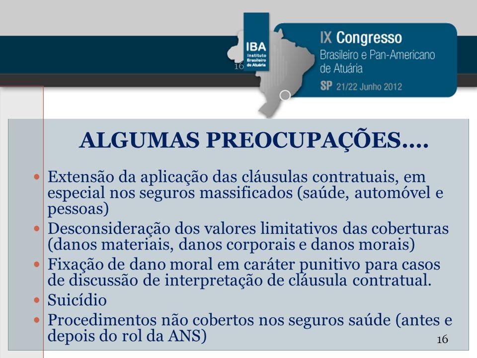 ALGUMAS PREOCUPAÇÕES.... Extensão da aplicação das cláusulas contratuais, em especial nos seguros massificados (saúde, automóvel e pessoas) Desconside