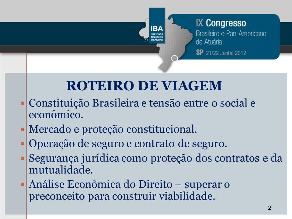 ROTEIRO DE VIAGEM Constituição Brasileira e tensão entre o social e econômico. Mercado e proteção constitucional. Operação de seguro e contrato de seg